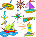 sailing and boat set