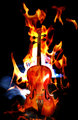 Burning flaming violin
