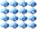 Virtual cloud icons Set 2 Blue