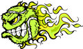 Tennis Ball Flaming Face Vector Image