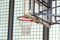 Basketball hoop in a gymnasium