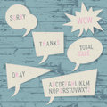 Speech bubbles template. Sketch alphabet included, vector, EPS10