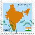 stamp with map and flag of India