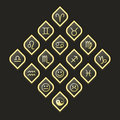 Vector web button pack. Zodiac Gold