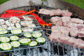 Food on the grill for a barbeque