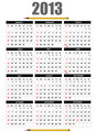2013 calendar with pencil image. Vector illustration
