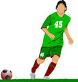 Soccer football player. Colored Vector illustration for designer