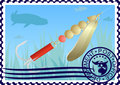 Postage stamp. Fishing tackle