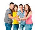 group of young people holding hands