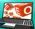 Seo Dice On Laptop Showing Online Web Optimization