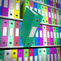 Shelves Of Files With One Falling For Getting Paperwork Organize