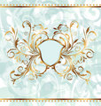 Royal background with golden ornate frame and heraldic shield
