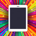 Tablet device on colorful rays background. Conceptual illustrati