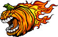 Screaming Halloween Jack-O-Lantern Pumpkin Head with Flames Cart