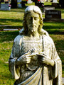 Statue jesus with moss
