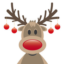 rudolph reindeer red nose christmas balls stock vector