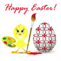 easter holiday illustration with chicken, isolated on white back