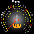 2013 year calendar speedometer car in Spanish. January