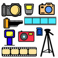vector set of cameras and accessories.