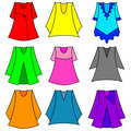 Vector set of fashionable  dresses for girl