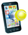 Tennis ball flying out of mobile phone