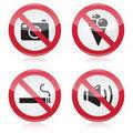 Forbidden sign: no cameras, no food, no smoking, no noise