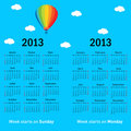 Stylish French calendar with balloon and clouds for 2013. In Fre