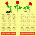 Stylish  calendar with flowers  for 2013. In Russian and English