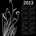 Stylish calendar with flowers for 2013. Week starts on Sunday.