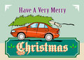 Merry Christmas Tree Car Automobile