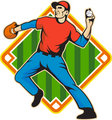 Baseball Player Pitcher Throwing Ball