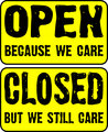 Open and closed store signs.