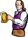 Benjamin Franklin or noble aristocratic gentleman holding mug of beer