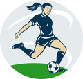 woman girl playing soccer kicking the ball