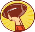 American Football Player Hand Catching Throwing Ball