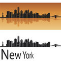 New York skyline in orange background