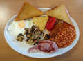 Traditional English fried breakfast.