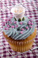 home made cupcake with blue butter cream
