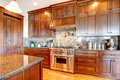 Luxury pine wood beautiful custom kitchen interior design.