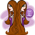 women cartoon illustration gemini sign