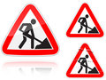 Variants a Works on the road - road sign