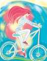The girl and a bicycle.