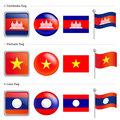 Laos and Vietnam, Cambodia Flag Icon