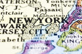 close up of new york on map, united states