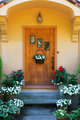 Weathered wood stained home door
