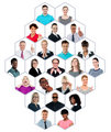 Headshot collection of multiracial group of people