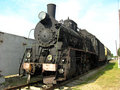 Ancient black steam locomotive