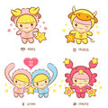 The front stand up Aries and Taurus, Twins and Crab Mascot. The 