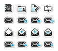 Email mailbox vector icons set as labels