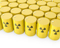 Barrels with radioactive symbol